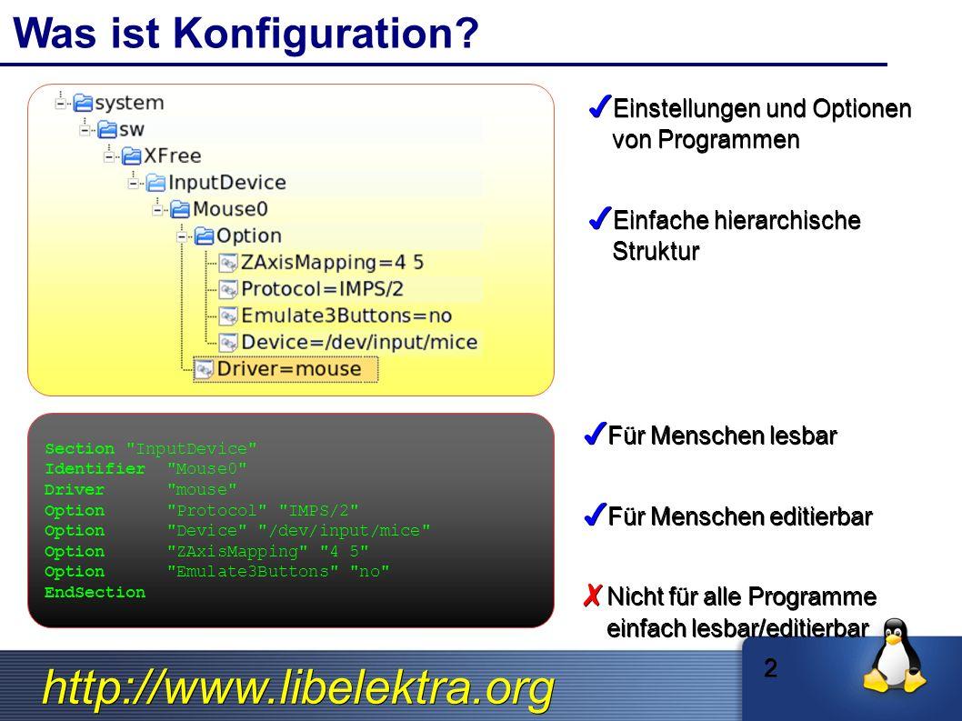 http://www.libelektra.org Elektrifizierung Konfig- uration Konfig- uration App A ✗ Konfiguration ist stark abhängig von der Applikation ✗ Konfiguration wird nicht mit anderer Software geteilt Globale Konfiguration Globale Konfiguration ✔ Konfiguration repräsentiert durch Standards ✔ Verschiedene Programme können Konfigurationen teilen App AApp BApp C Elektrifizierung Konfig- uration Konfig- uration App B Konfig- uration Konfig- uration App C 13