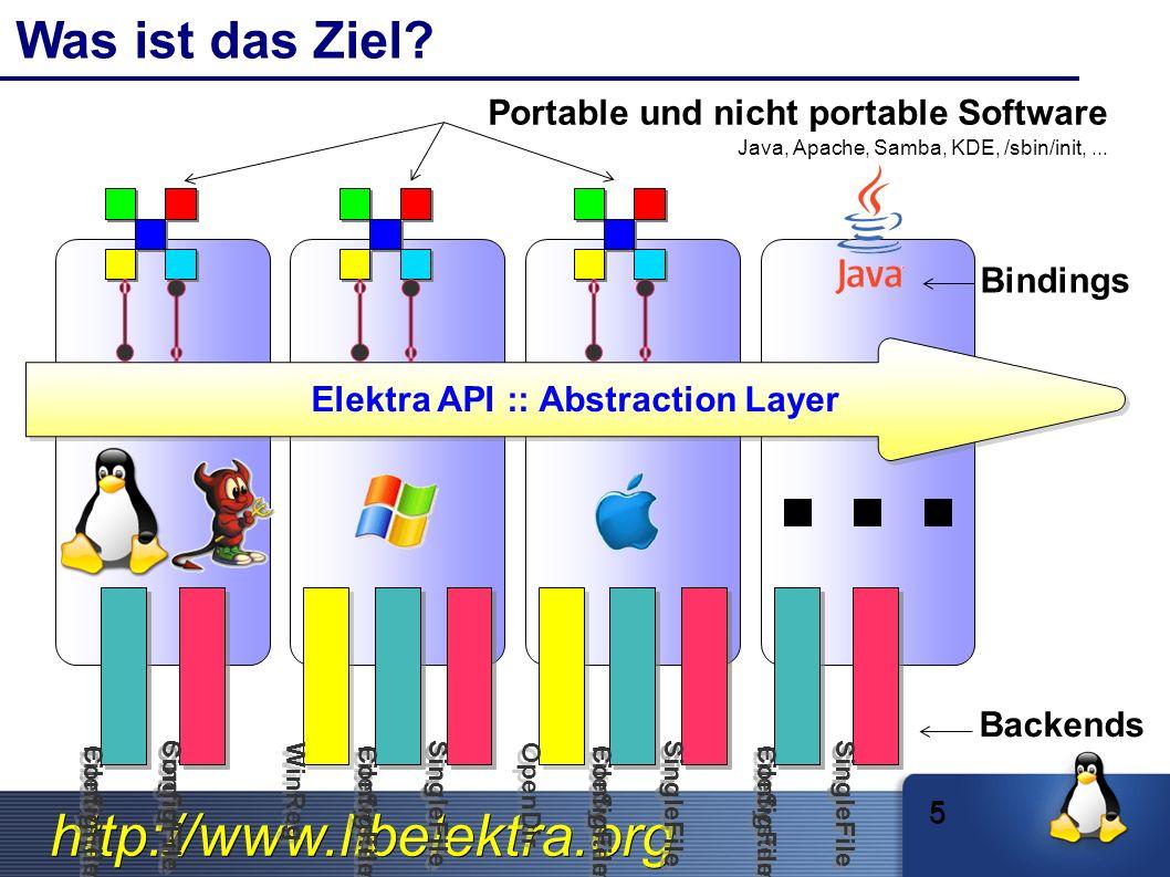 http://www.libelektra.org The kdb Command: Perfekt für Skripte $ kdb get system/filesystems/boot/mpoint # kdb set system/sw/xorg/Screen/Display/Modes 1280x1024 $ kdb ls system/sw/myapp $ kdb rm user/env/alias/vnc 26