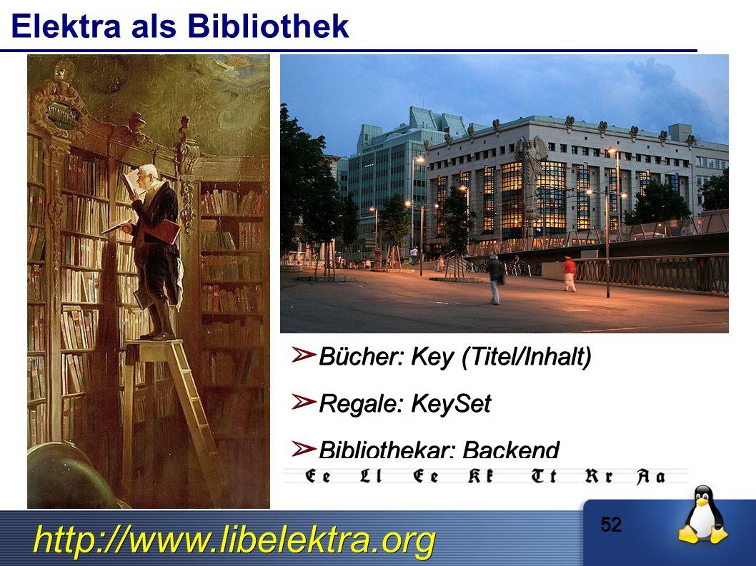 http://www.libelektra.org Elektra als Bibliothek ➢ Bücher: Key (Titel/Inhalt) ➢ Regale: KeySet ➢ Bibliothekar: Backend 52