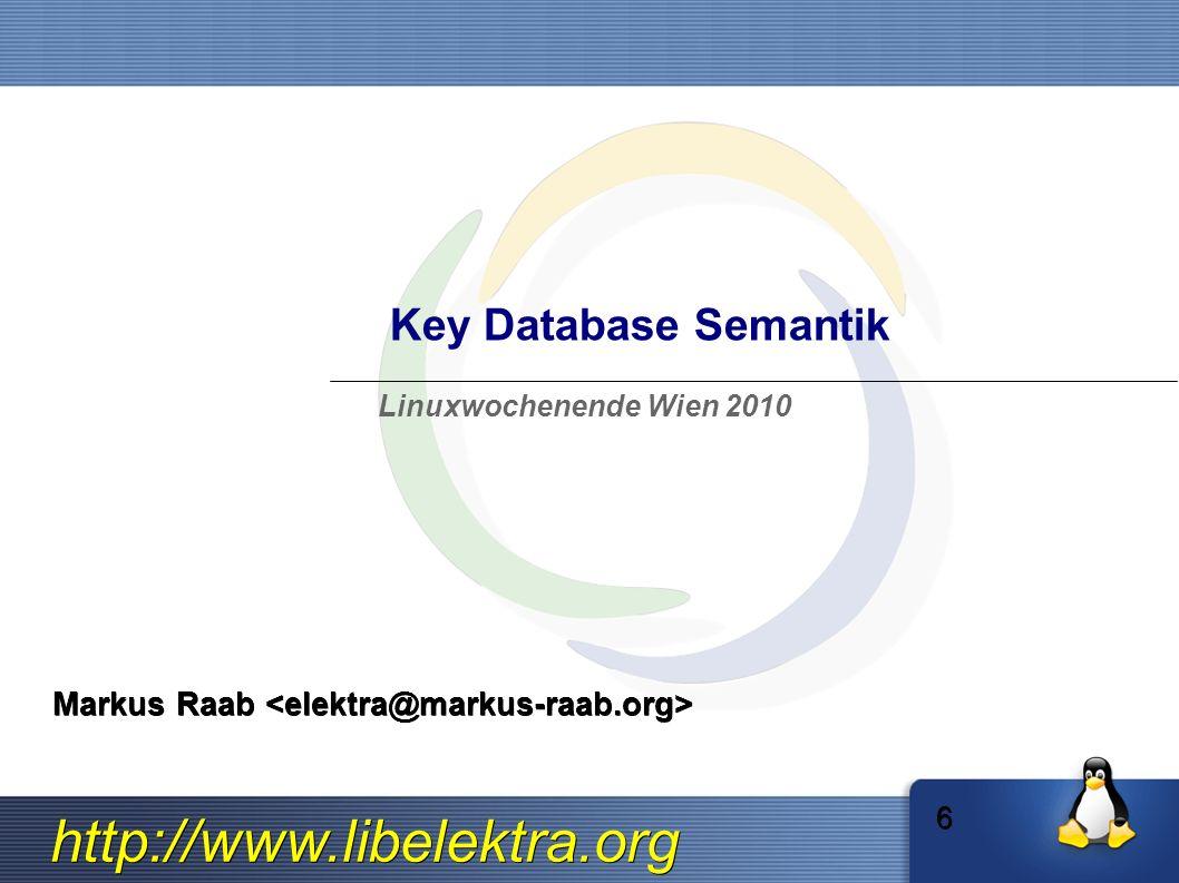 http://www.libelektra.org Key Hierachie key/value pairs für System key/value pairs für aktuellen User Avi s persönliche keys Luciana s persönliche keys Valeria s persönliche keys Die system/* Hierachie ist gespeichert unter /etc/ Die user:$USER/* Hierachie unter ~$USER/.config/ Die user/* Hierachie ist eine Abkürzung für aktuellen User.
