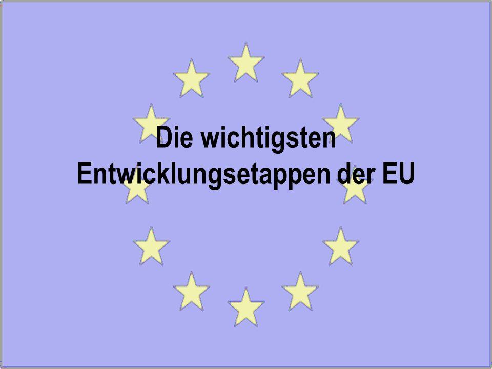 Die wichtigsten Entwicklungsetappen der EU