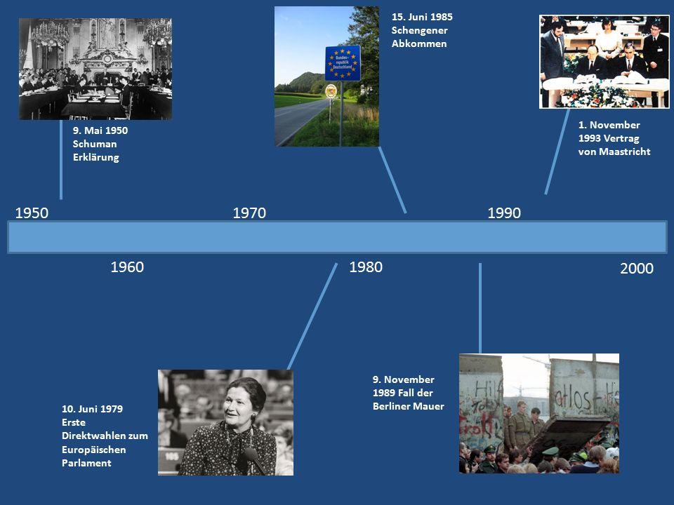 1950 2000 1960 1970 1980 1990 9. Mai 1950 Schuman Erklärung 10. Juni 1979 Erste Direktwahlen zum Europäischen Parlament 15. Juni 1985 Schengener Abkom