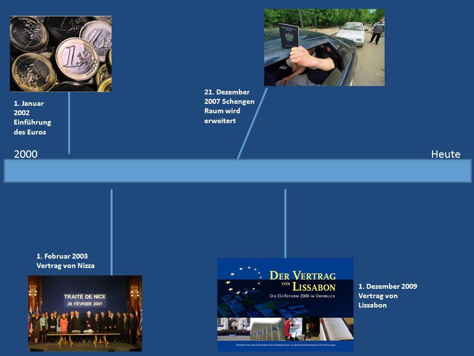 2000Heute 1. Januar 2002 Einführung des Euros 1. Februar 2003 Vertrag von Nizza 21. Dezember 2007 Schengen Raum wird erweitert 1. Dezember 2009 Vertra