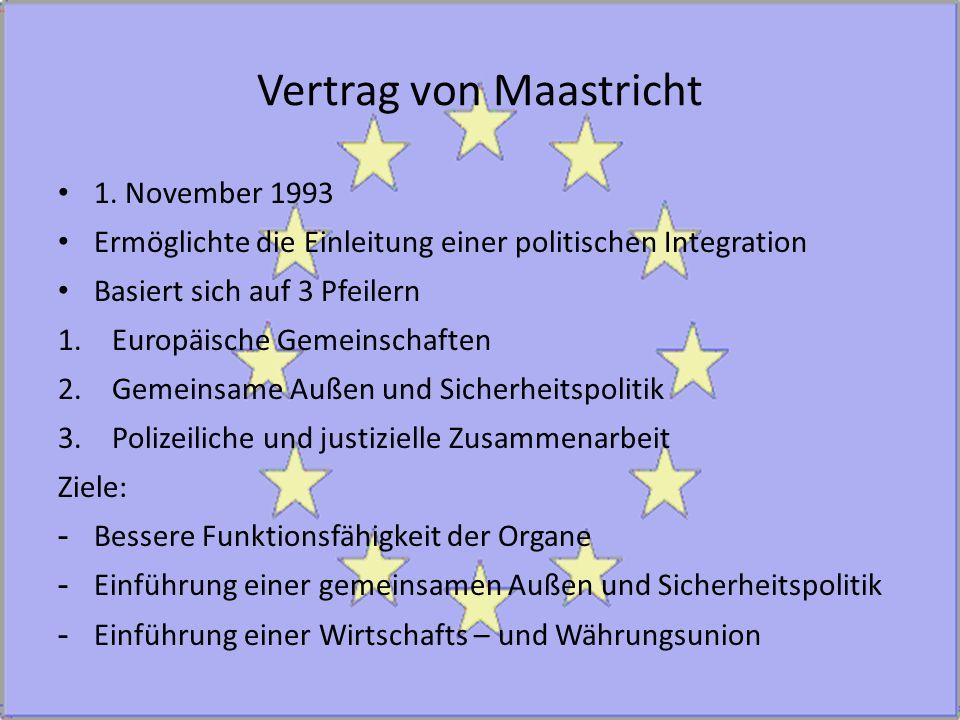 Vertrag von Maastricht 1. November 1993 Ermöglichte die Einleitung einer politischen Integration Basiert sich auf 3 Pfeilern 1.Europäische Gemeinschaf
