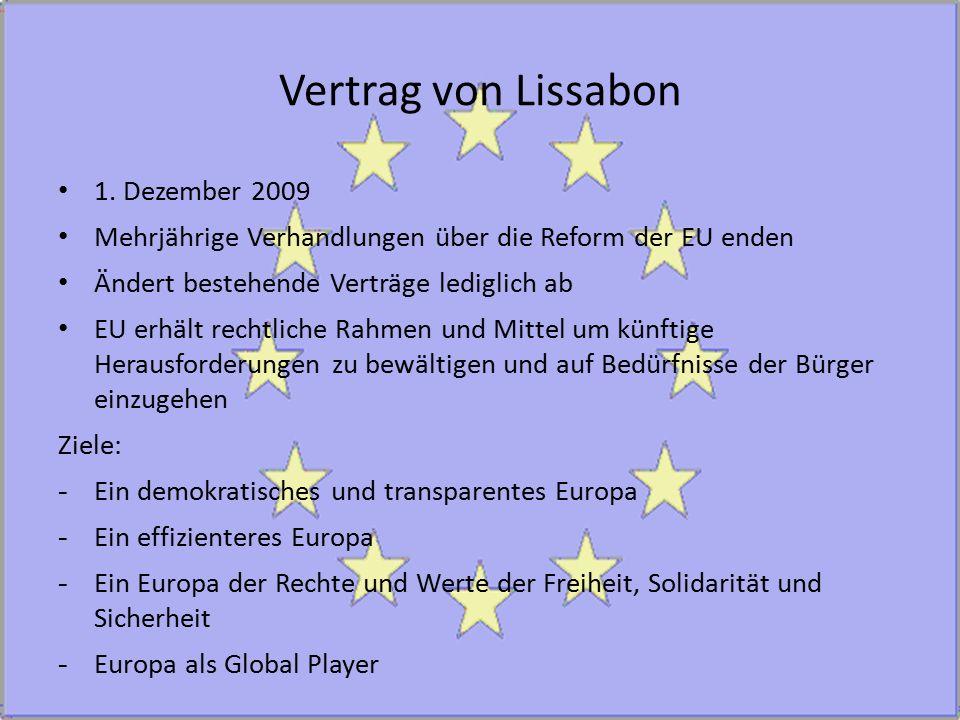 Vertrag von Lissabon 1. Dezember 2009 Mehrjährige Verhandlungen über die Reform der EU enden Ändert bestehende Verträge lediglich ab EU erhält rechtli
