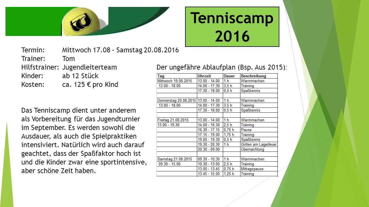 Tenniscamp 2016 Termin:Mittwoch 17.08 – Samstag 20.08.2016 Trainer:Tom Hilfstrainer:Jugendleiterteam Kinder:ab 12 Stück Kosten:ca.