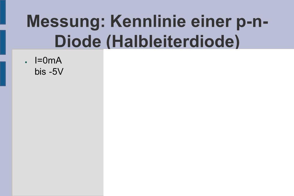 Messung: Kennlinie einer p-n- Diode (Halbleiterdiode) ● I=0mA bis -5V