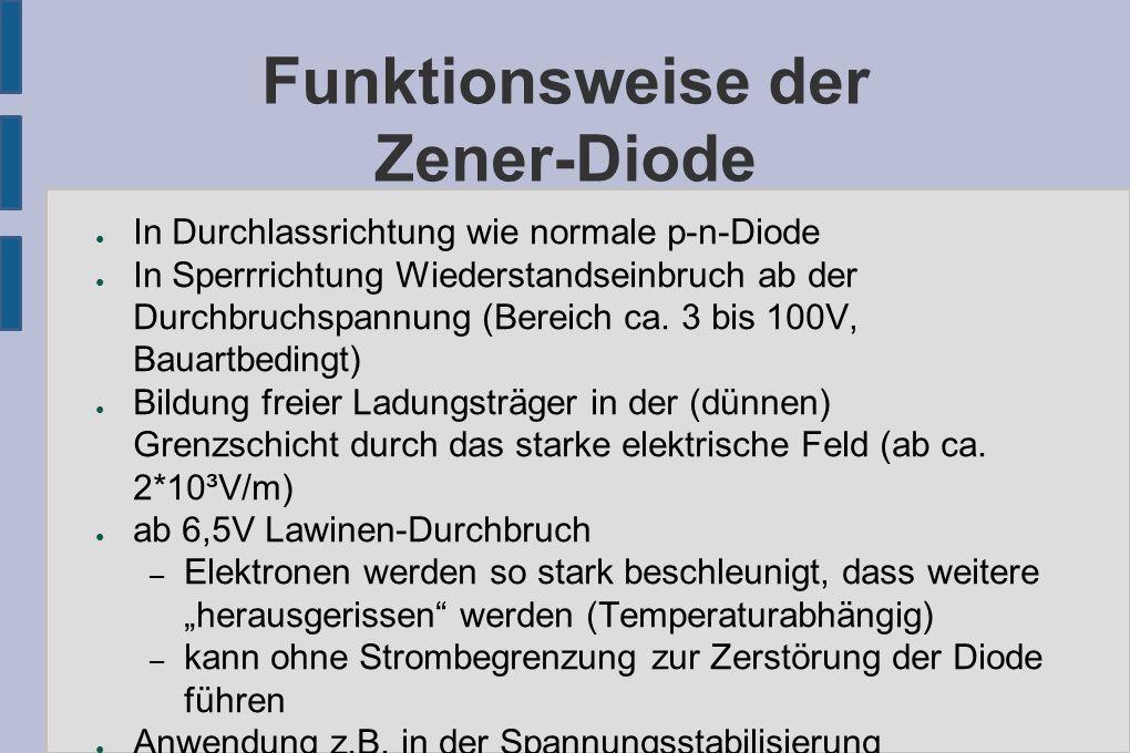 Funktionsweise der Zener-Diode ● In Durchlassrichtung wie normale p-n-Diode ● In Sperrrichtung Wiederstandseinbruch ab der Durchbruchspannung (Bereich ca.