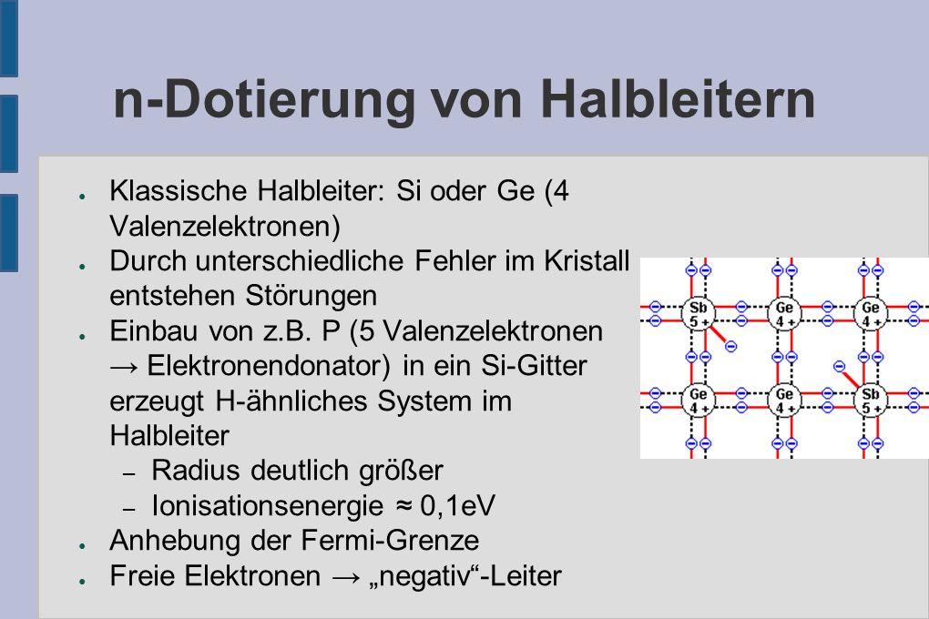 n-Dotierung von Halbleitern ● Klassische Halbleiter: Si oder Ge (4 Valenzelektronen) ● Durch unterschiedliche Fehler im Kristall entstehen Störungen ● Einbau von z.B.