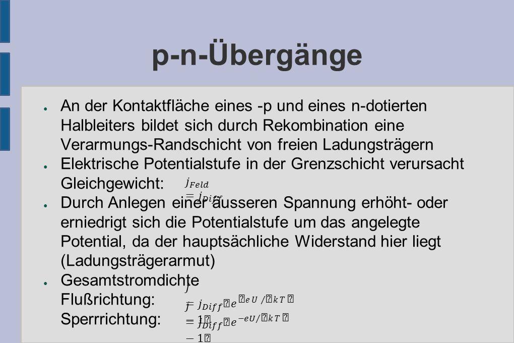 p-n-Übergänge: Diodengleichung ● Nach Boltzmann: Verhältnis der Teilchenzahldichten (Boltzmannverteilung) ● => Potential für Elektronen und Löcher gleich ● Stromdichte, die durch zusätzliches Feld entsteht: ● Damit folgt für die Gesamtstromdichte: