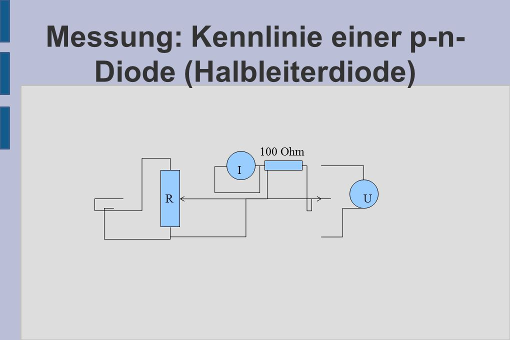 Messung: Kennlinie einer p-n- Diode (Halbleiterdiode) I 100 Ohm RU