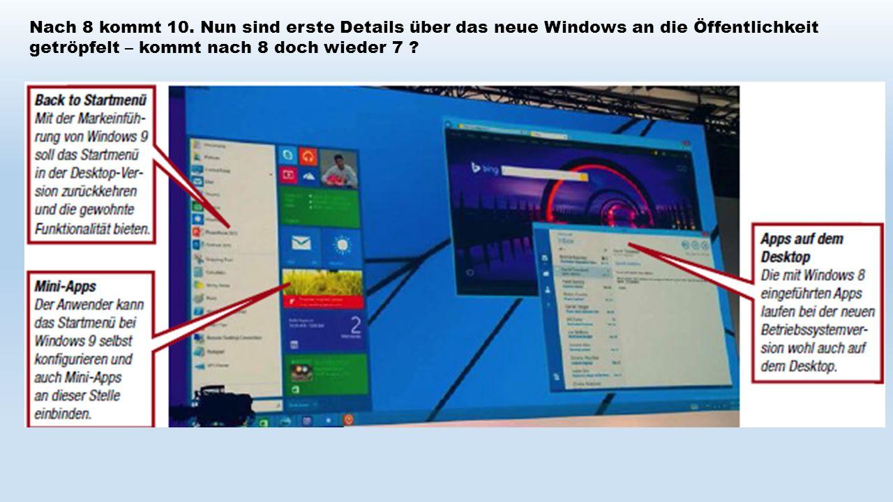 Nach 8 kommt 10. Nun sind erste Details über das neue Windows an die Öffentlichkeit getröpfelt – kommt nach 8 doch wieder 7 ?