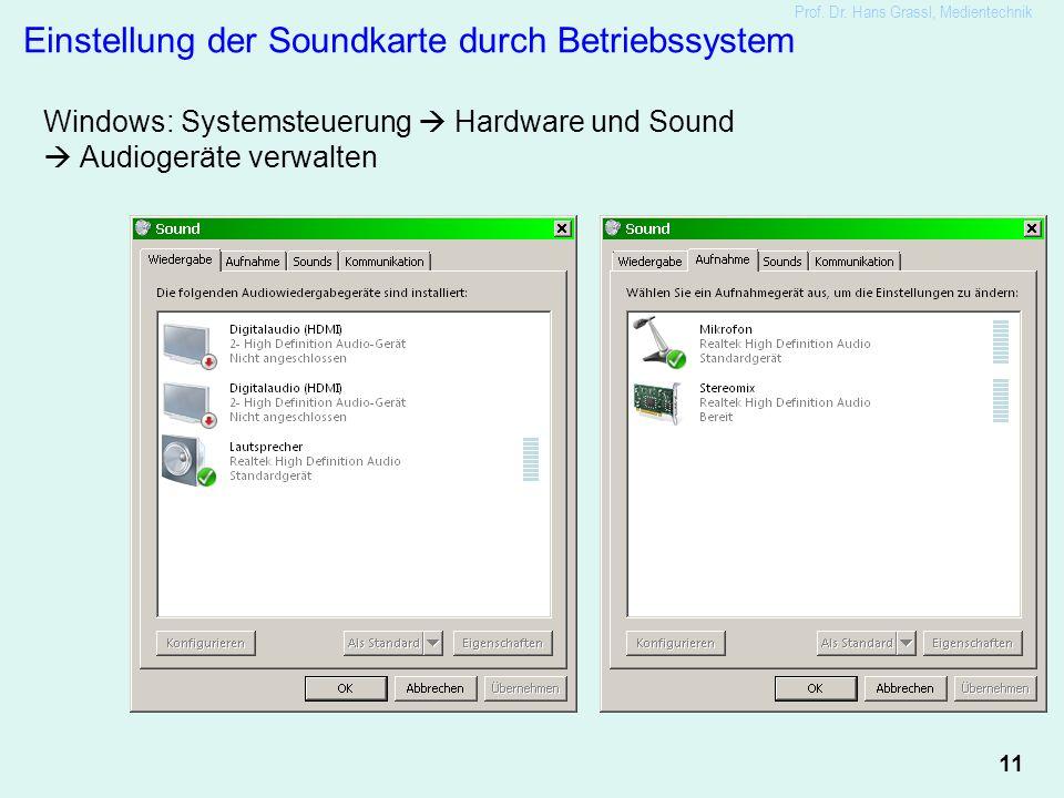 11 Prof. Dr. Hans Grassl, Medientechnik Einstellung der Soundkarte durch Betriebssystem Windows: Systemsteuerung  Hardware und Sound  Audiogeräte ve