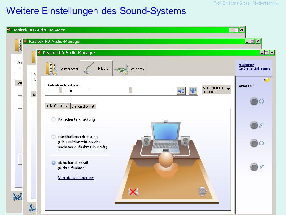14 Weitere Einstellungen des Sound-Systems Prof. Dr. Hans Grassl, Medientechnik