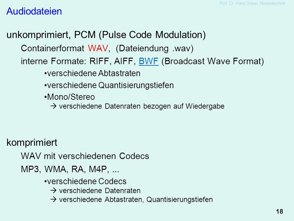18 Prof. Dr. Hans Grassl, Medientechnik Audiodateien unkomprimiert, PCM (Pulse Code Modulation) Containerformat WAV, (Dateiendung.wav) interne Formate