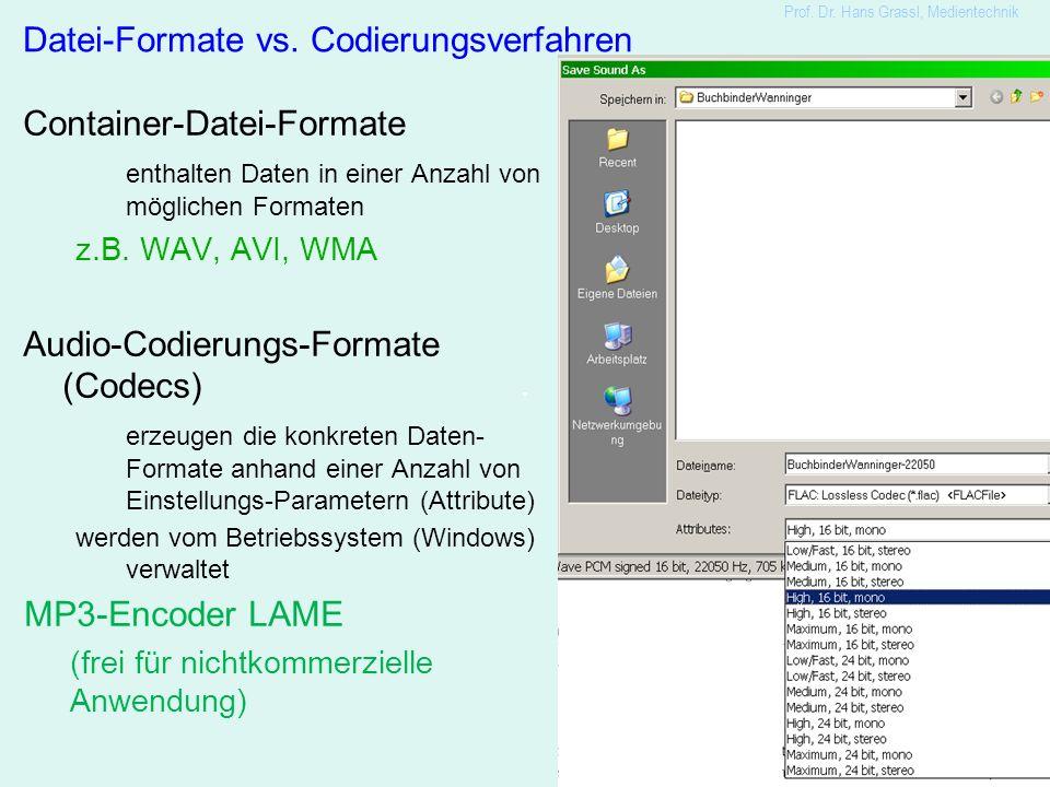 20 Prof. Dr. Hans Grassl, Medientechnik Container-Datei-Formate enthalten Daten in einer Anzahl von möglichen Formaten z.B. WAV, AVI, WMA Audio-Codier