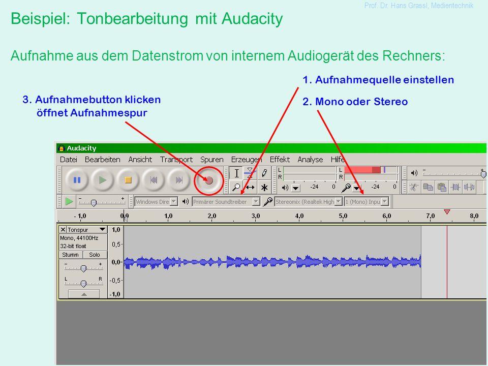 22 Beispiel: Tonbearbeitung mit Audacity Aufnahme aus dem Datenstrom von internem Audiogerät des Rechners: Prof. Dr. Hans Grassl, Medientechnik 1. Auf