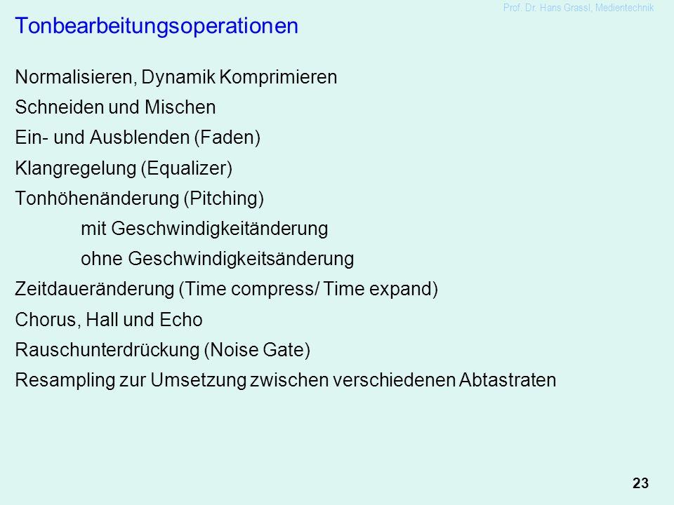 23 Prof. Dr. Hans Grassl, Medientechnik Tonbearbeitungsoperationen Normalisieren, Dynamik Komprimieren Schneiden und Mischen Ein- und Ausblenden (Fade