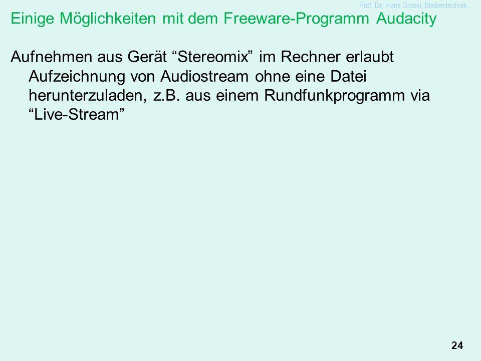 """24 Einige Möglichkeiten mit dem Freeware-Programm Audacity Aufnehmen aus Gerät """"Stereomix"""" im Rechner erlaubt Aufzeichnung von Audiostream ohne eine D"""