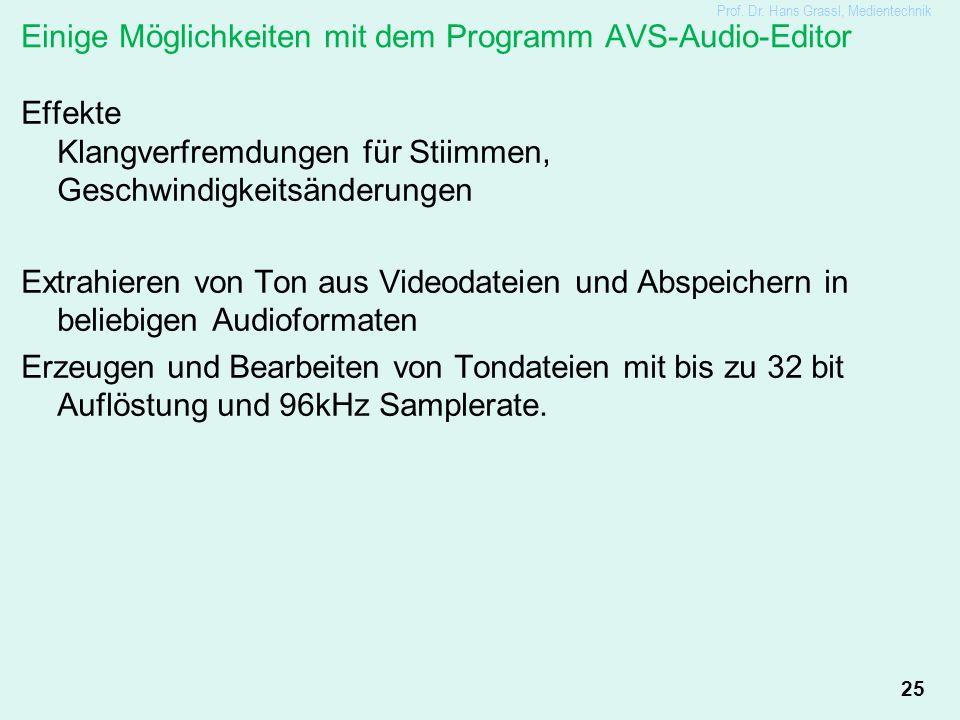 25 Einige Möglichkeiten mit dem Programm AVS-Audio-Editor Effekte Klangverfremdungen für Stiimmen, Geschwindigkeitsänderungen Extrahieren von Ton aus Videodateien und Abspeichern in beliebigen Audioformaten Erzeugen und Bearbeiten von Tondateien mit bis zu 32 bit Auflöstung und 96kHz Samplerate.