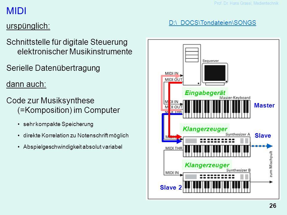 26 Prof. Dr. Hans Grassl, Medientechnik MIDI urspünglich: Schnittstelle für digitale Steuerung elektronischer Musikinstrumente Serielle Datenübertragu