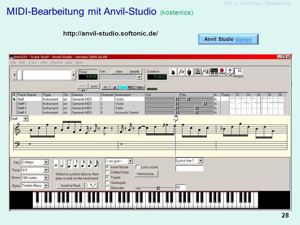 28 Prof. Dr. Hans Grassl, Medientechnik MIDI-Bearbeitung mit Anvil-Studio (kostenlos) http://anvil-studio.softonic.de/