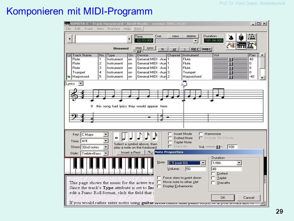29 Prof. Dr. Hans Grassl, Medientechnik Komponieren mit MIDI-Programm