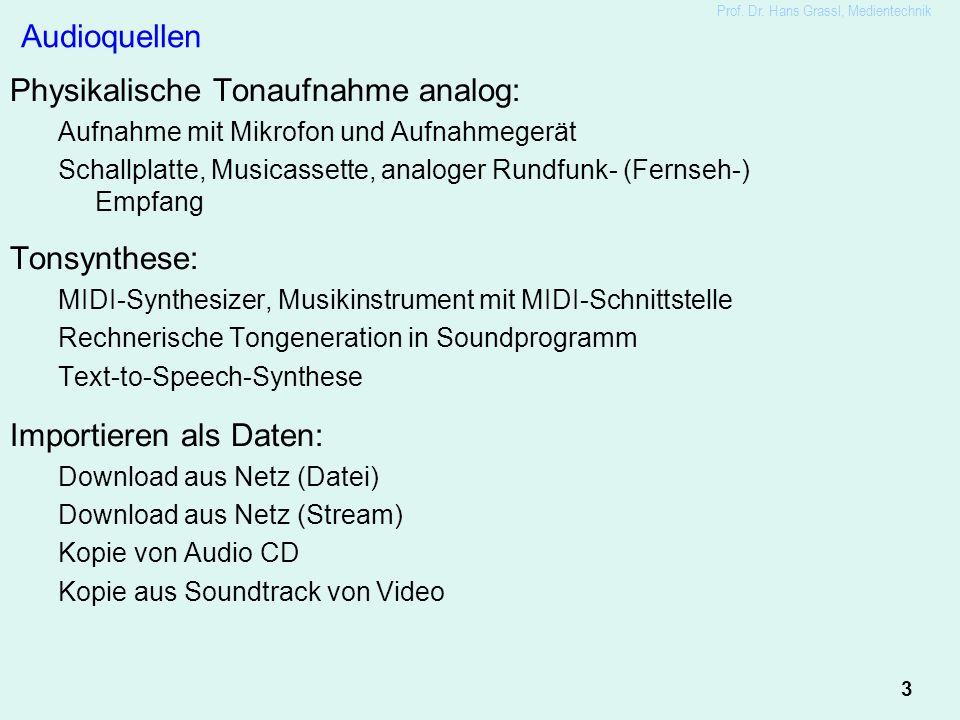 3 Prof. Dr. Hans Grassl, Medientechnik Audioquellen Physikalische Tonaufnahme analog: Aufnahme mit Mikrofon und Aufnahmegerät Schallplatte, Musicasset