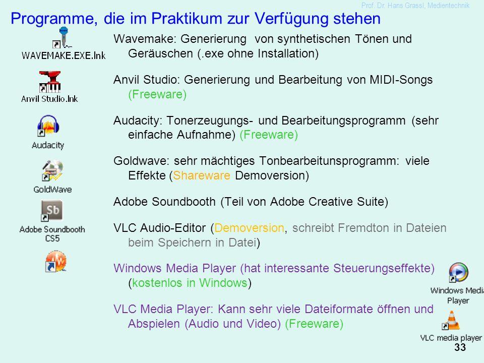 33 Prof. Dr. Hans Grassl, Medientechnik Programme, die im Praktikum zur Verfügung stehen Wavemake: Generierung von synthetischen Tönen und Geräuschen