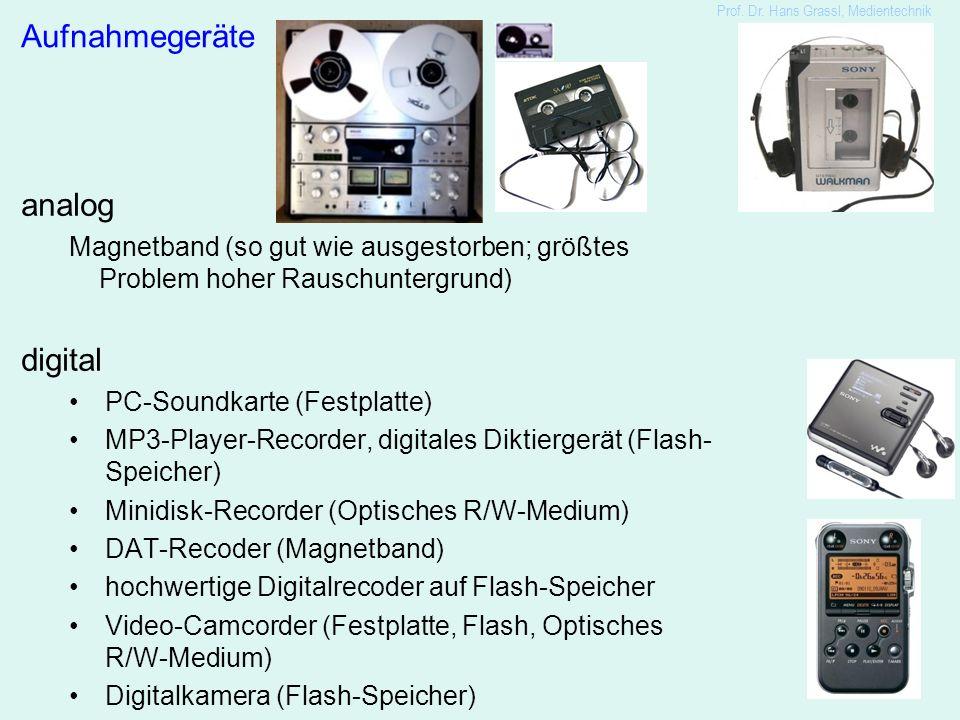 5 Aufnahmegeräte analog Magnetband (so gut wie ausgestorben; größtes Problem hoher Rauschuntergrund) digital PC-Soundkarte (Festplatte) MP3-Player-Recorder, digitales Diktiergerät (Flash- Speicher) Minidisk-Recorder (Optisches R/W-Medium) DAT-Recoder (Magnetband) hochwertige Digitalrecoder auf Flash-Speicher Video-Camcorder (Festplatte, Flash, Optisches R/W-Medium) Digitalkamera (Flash-Speicher)