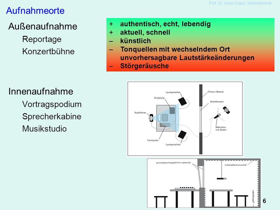 6 Prof. Dr. Hans Grassl, Medientechnik Aufnahmeorte Außenaufnahme Reportage Konzertbühne Innenaufnahme Vortragspodium Sprecherkabine Musikstudio +auth