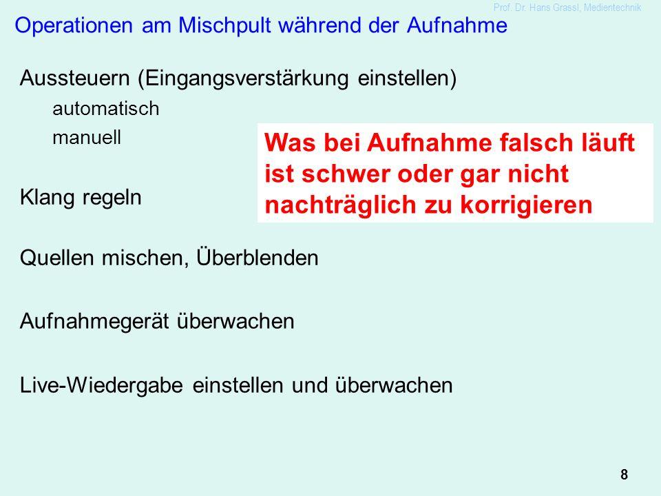 8 Prof. Dr. Hans Grassl, Medientechnik Operationen am Mischpult während der Aufnahme Aussteuern (Eingangsverstärkung einstellen) automatisch manuell K