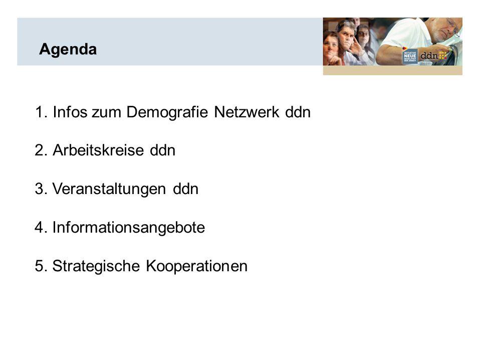 Agenda 1.Infos zum Demografie Netzwerk ddn 2.Arbeitskreise ddn 3.