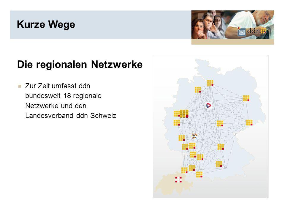 Die regionalen Netzwerke Zur Zeit umfasst ddn bundesweit 18 regionale Netzwerke und den Landesverband ddn Schweiz Kurze Wege