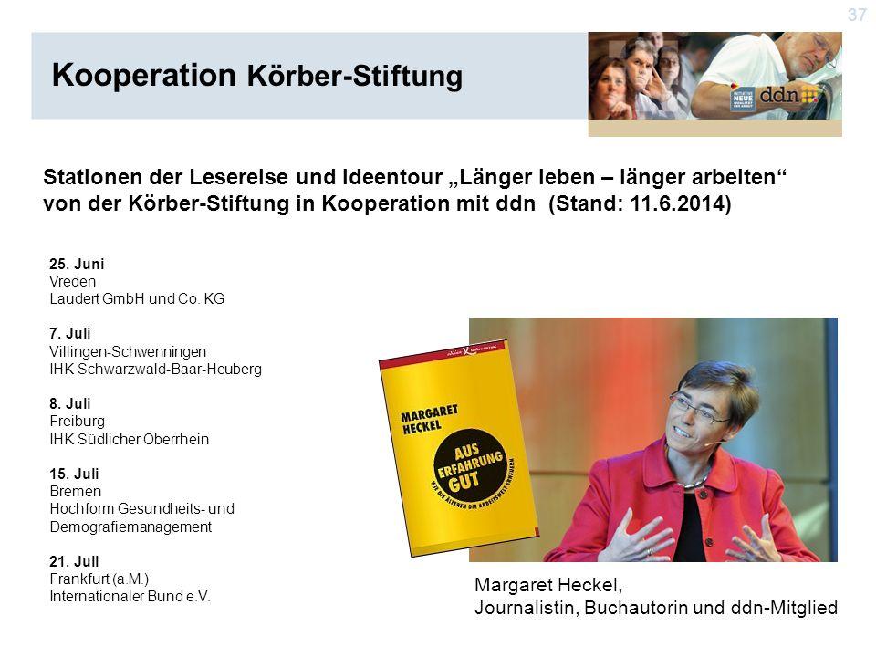 """37 Stationen der Lesereise und Ideentour """"Länger leben – länger arbeiten von der Körber-Stiftung in Kooperation mit ddn (Stand: 11.6.2014) Margaret Heckel, Journalistin, Buchautorin und ddn-Mitglied 25."""