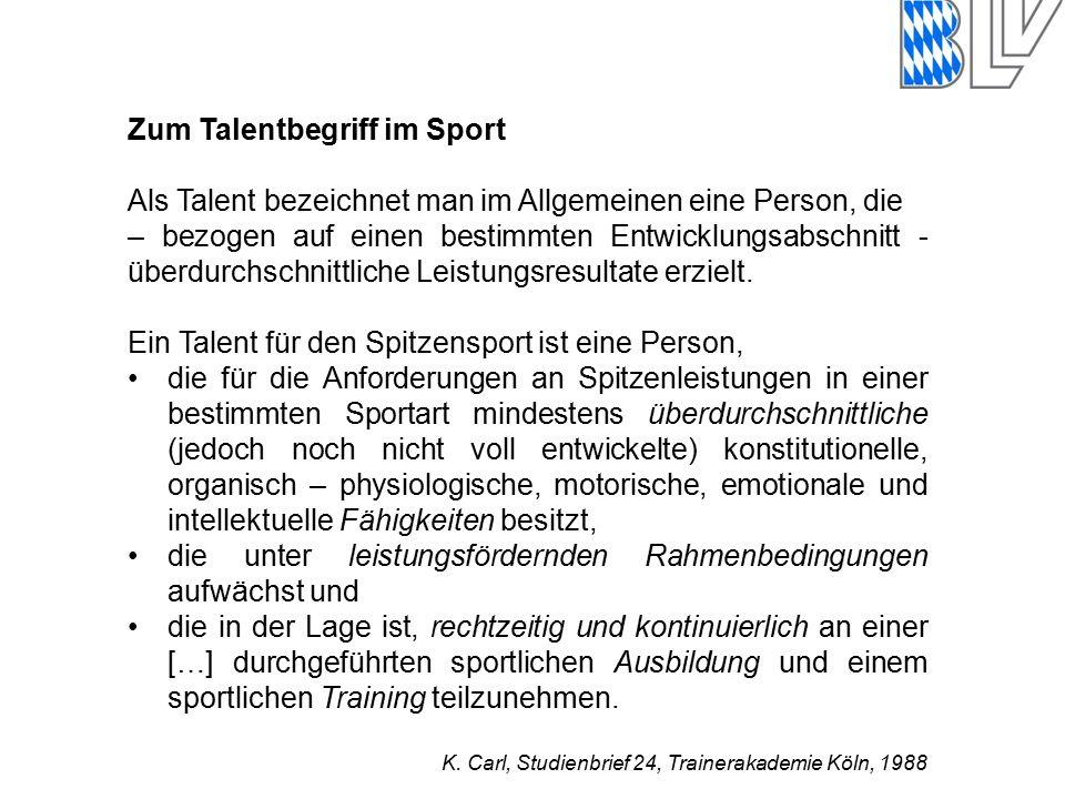 Zum Talentbegriff im Sport Als Talent bezeichnet man im Allgemeinen eine Person, die – bezogen auf einen bestimmten Entwicklungsabschnitt - überdurchschnittliche Leistungsresultate erzielt.