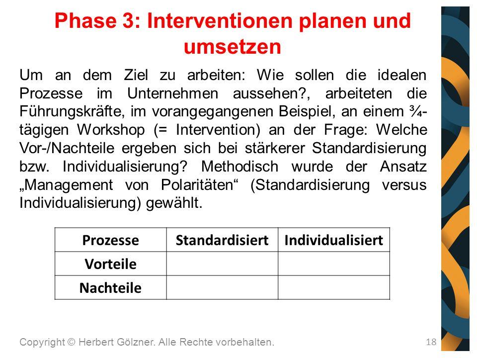 Um an dem Ziel zu arbeiten: Wie sollen die idealen Prozesse im Unternehmen aussehen , arbeiteten die Führungskräfte, im vorangegangenen Beispiel, an einem ¾- tägigen Workshop (= Intervention) an der Frage: Welche Vor-/Nachteile ergeben sich bei stärkerer Standardisierung bzw.