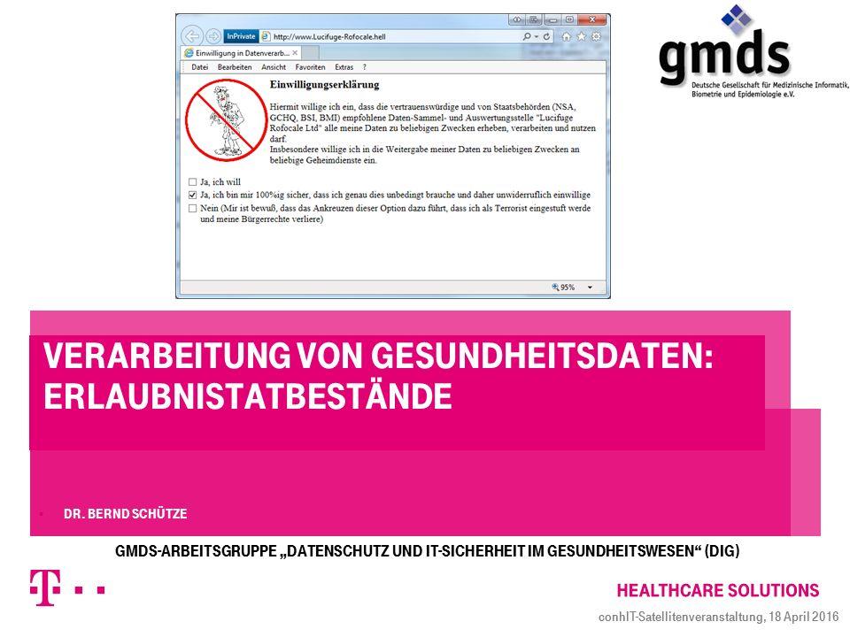 Verarbeitung von Gesundheitsdaten: Erlaubnistatbestände  Dr.
