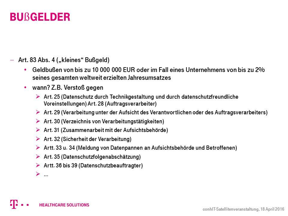 Bu ß gelder  Art. 83 Abs.