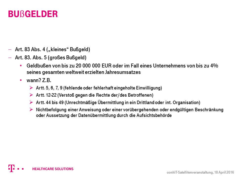 """Bu ß gelder  Art.83 Abs. 4 (""""kleines Bußgeld)  Art."""