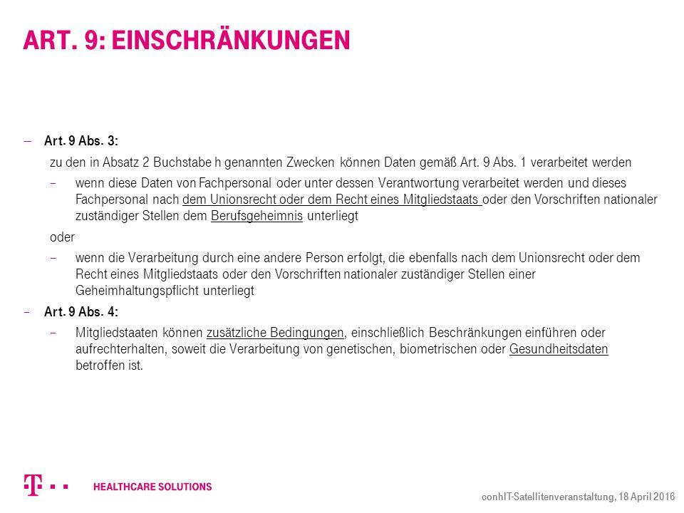 Art. 9: Einschränkungen  Art. 9 Abs.