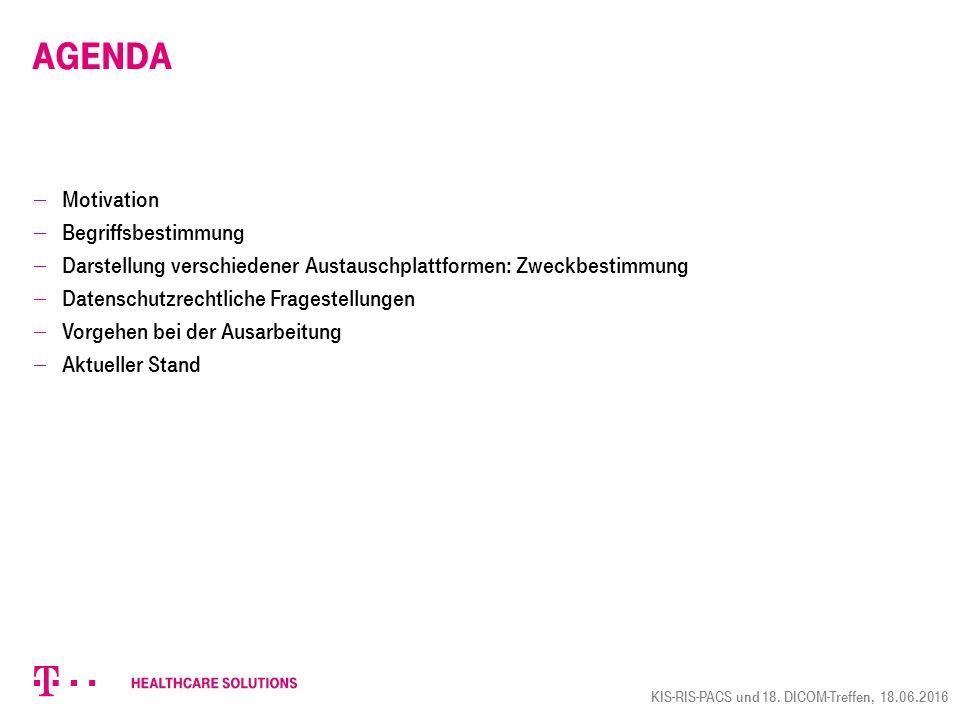 Agenda  Motivation  Begriffsbestimmung  Darstellung verschiedener Austauschplattformen: Zweckbestimmung  Datenschutzrechtliche Fragestellungen  Vorgehen bei der Ausarbeitung  Aktueller Stand KIS-RIS-PACS und 18.