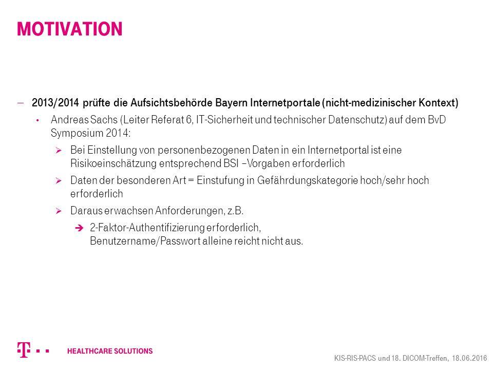  2013/2014 prüfte die Aufsichtsbehörde Bayern Internetportale (nicht-medizinischer Kontext) Andreas Sachs (Leiter Referat 6, IT-Sicherheit und techni