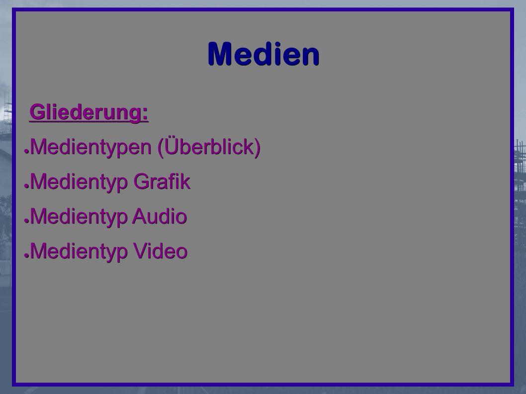 Medien Gliederung: ● Medientypen (Überblick) ● Medientyp Grafik ● Medientyp Audio ● Medientyp Video