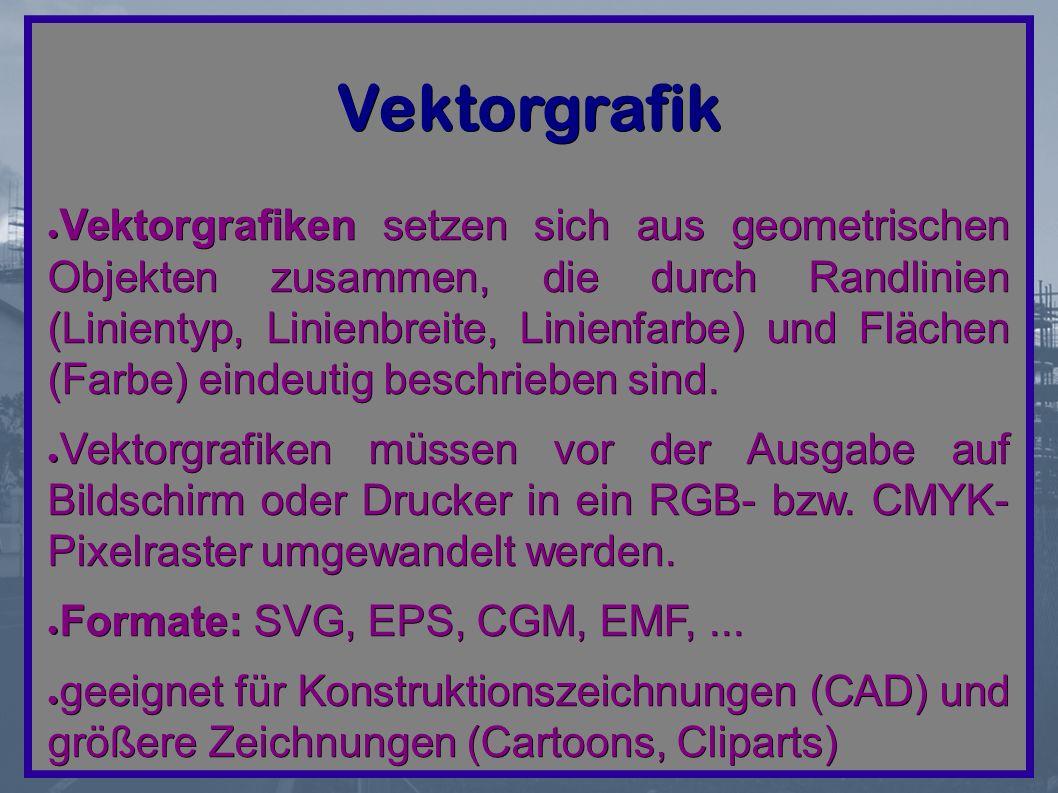 Vektorgrafik ● Vektorgrafiken setzen sich aus geometrischen Objekten zusammen, die durch Randlinien (Linientyp, Linienbreite, Linienfarbe) und Flächen (Farbe) eindeutig beschrieben sind.