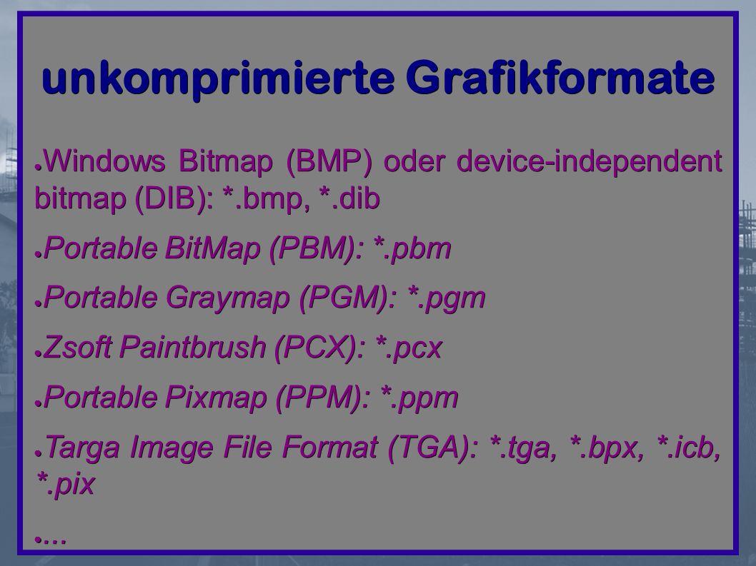 unkomprimierte Grafikformate ● Windows Bitmap (BMP) oder device-independent bitmap (DIB): *.bmp, *.dib ● Portable BitMap (PBM): *.pbm ● Portable Graymap (PGM): *.pgm ● Zsoft Paintbrush (PCX): *.pcx ● Portable Pixmap (PPM): *.ppm ● Targa Image File Format (TGA): *.tga, *.bpx, *.icb, *.pix ●...