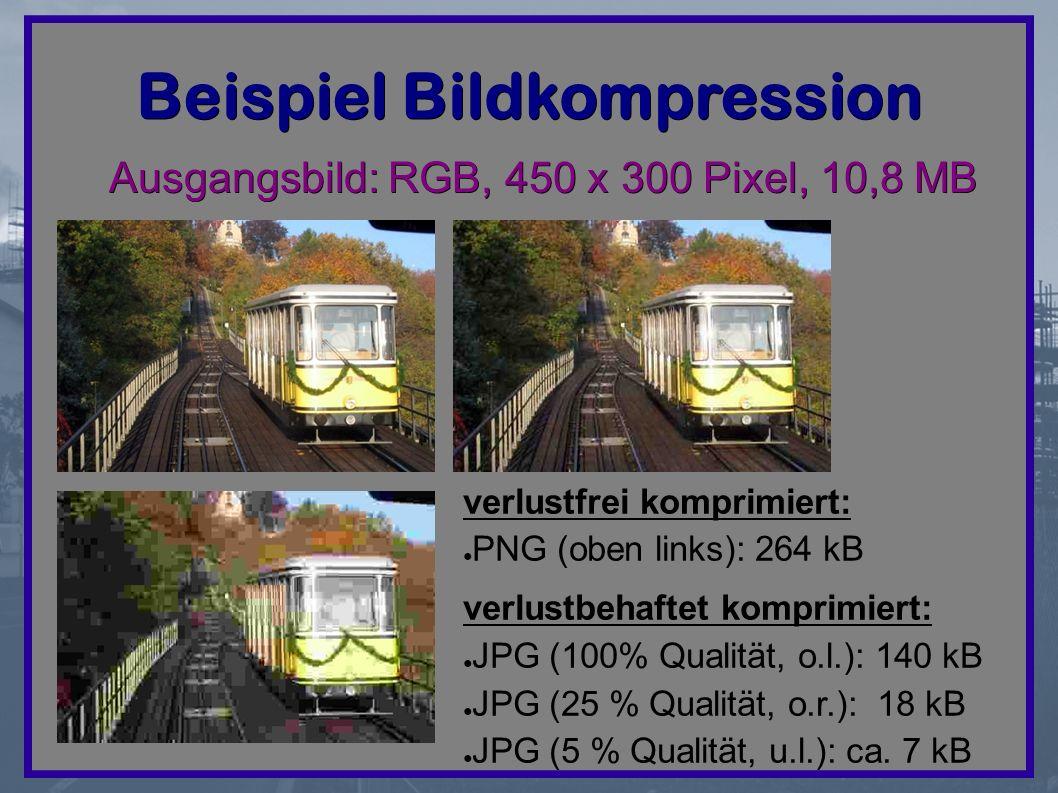 Beispiel Bildkompression Ausgangsbild: RGB, 450 x 300 Pixel, 10,8 MB verlustfrei komprimiert: ● PNG (oben links): 264 kB verlustbehaftet komprimiert: ● JPG (100% Qualität, o.l.): 140 kB ● JPG (25 % Qualität, o.r.): 18 kB ● JPG (5 % Qualität, u.l.): ca.