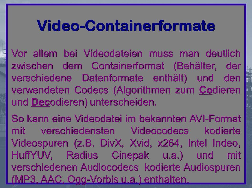 Video-Containerformate Vor allem bei Videodateien muss man deutlich zwischen dem Containerformat (Behälter, der verschiedene Datenformate enthält) und den verwendeten Codecs (Algorithmen zum Codieren und Decodieren) unterscheiden.