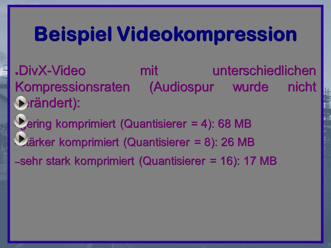 Beispiel Videokompression ● DivX-Video mit unterschiedlichen Kompressionsraten (Audiospur wurde nicht verändert): – gering komprimiert (Quantisierer = 4): 68 MB – stärker komprimiert (Quantisierer = 8): 26 MB – sehr stark komprimiert (Quantisierer = 16): 17 MB