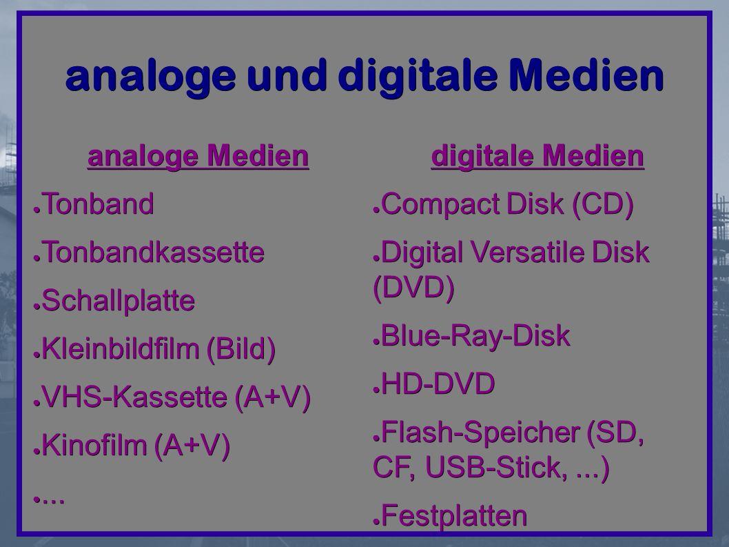 analoge und digitale Medien analoge Medien ● Tonband ● Tonbandkassette ● Schallplatte ● Kleinbildfilm (Bild) ● VHS-Kassette (A+V) ● Kinofilm (A+V) ●...